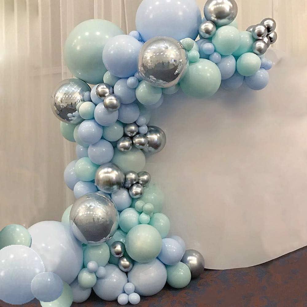 Kit de guirnalda de globos verde menta decoraciones de cumplea/ños para baby shower. decoraciones para fiesta de cumplea/ños Guirnalda de globos verde menta fiesta de ni/ños azul
