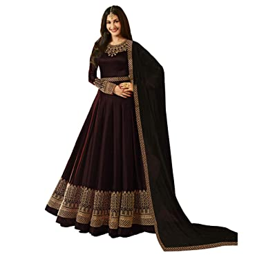8ff2a53dc78 Niza Fashion Women's Faux Georgette Long Anarkali Suit  (Brown_Anarkali_Gown_ Free Size)
