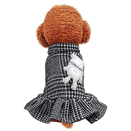 Ropa para mascotas falda de rejilla negra y blanca para ...