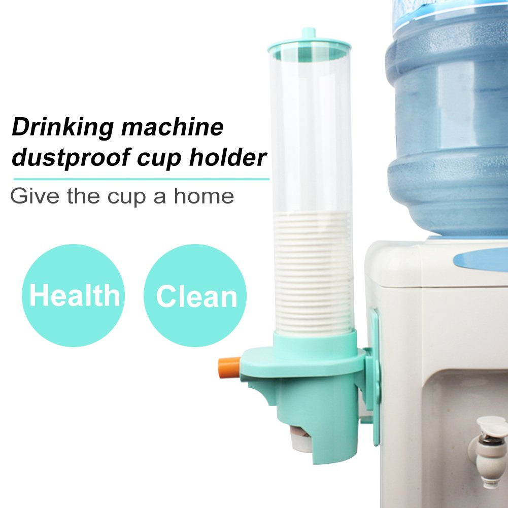 Paper Cup Dispenser, Automatic Water Cup Holder Dispense, Wall Mounted Pull Type Dust-Proof Cup Dispenser Water Cup Dispenser, 30-35 Cups Capacity For School, Home, Office etc(green heighten style)