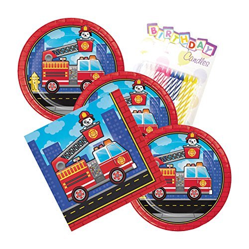 Flaming Fire Truck Theme Plates and Napkins Serves 16 With Birthday Candles -