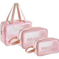 Waterproof Toiletry Bags,3pcs Plastic Cosmetic Makeup Bags, Travel Makeup Cosmetic Bag for Women Baby, Beach Swim Pool…