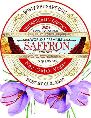 Redsaff Afghan Saffron Threads, 250 + Color Reading Non GMO, Vegan, 1.5 Gram