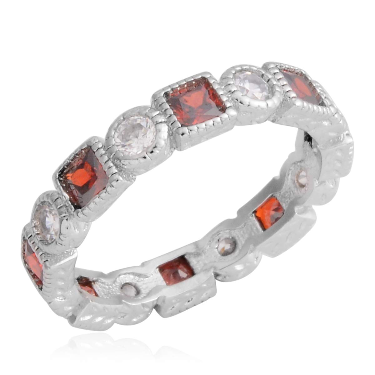 Round White Cubic Zirconia Ruby Cubic Zirconia Band Fashion Ring for Women Size 6