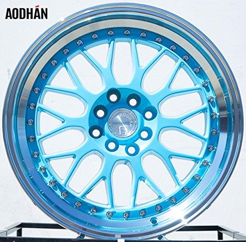 Aodhan Wheels AH-02: Rim Size 17x8, 4x100/114.3, 73.1, 35 (Tiffany Blue Machined Lip) (For Custom Cars Rims)