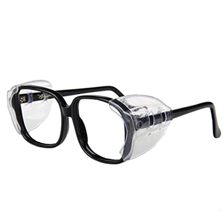 Auony Safety Glasses Side Shields, 2 Pairs Slip On Clear Side Shields for Safety Glasses-Fits Small to Medium Eyeglasses