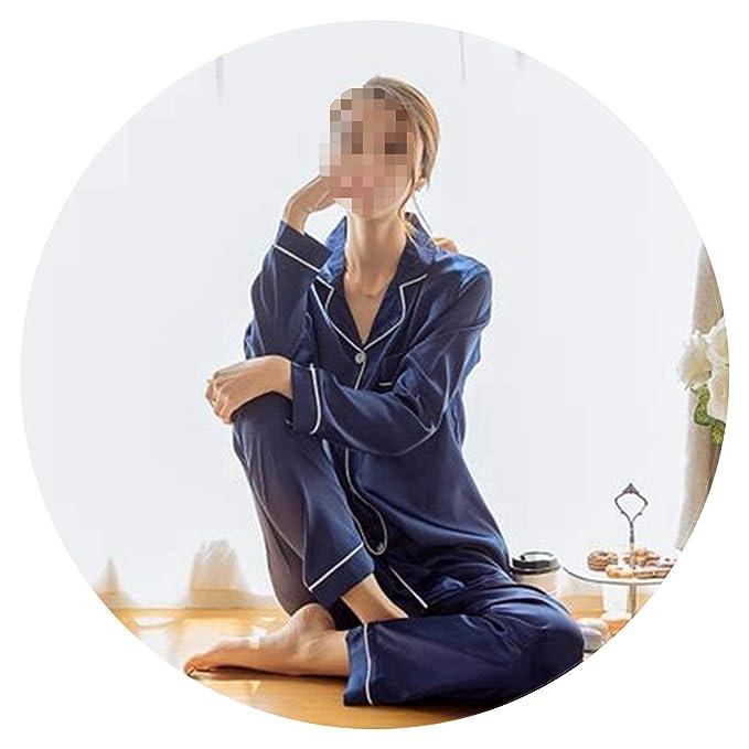 Womens Silk Satin Pajamas Pyjamas Set Long Sleeve Sleepwear ...