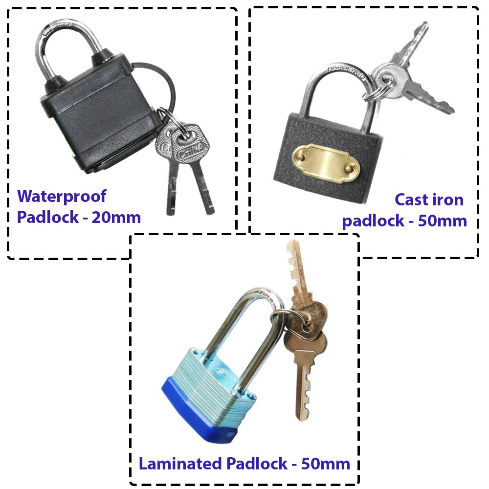 50mm Long Shackle Rustproof Padlock With 2 Keys With Auto Magnetic Lock Feature