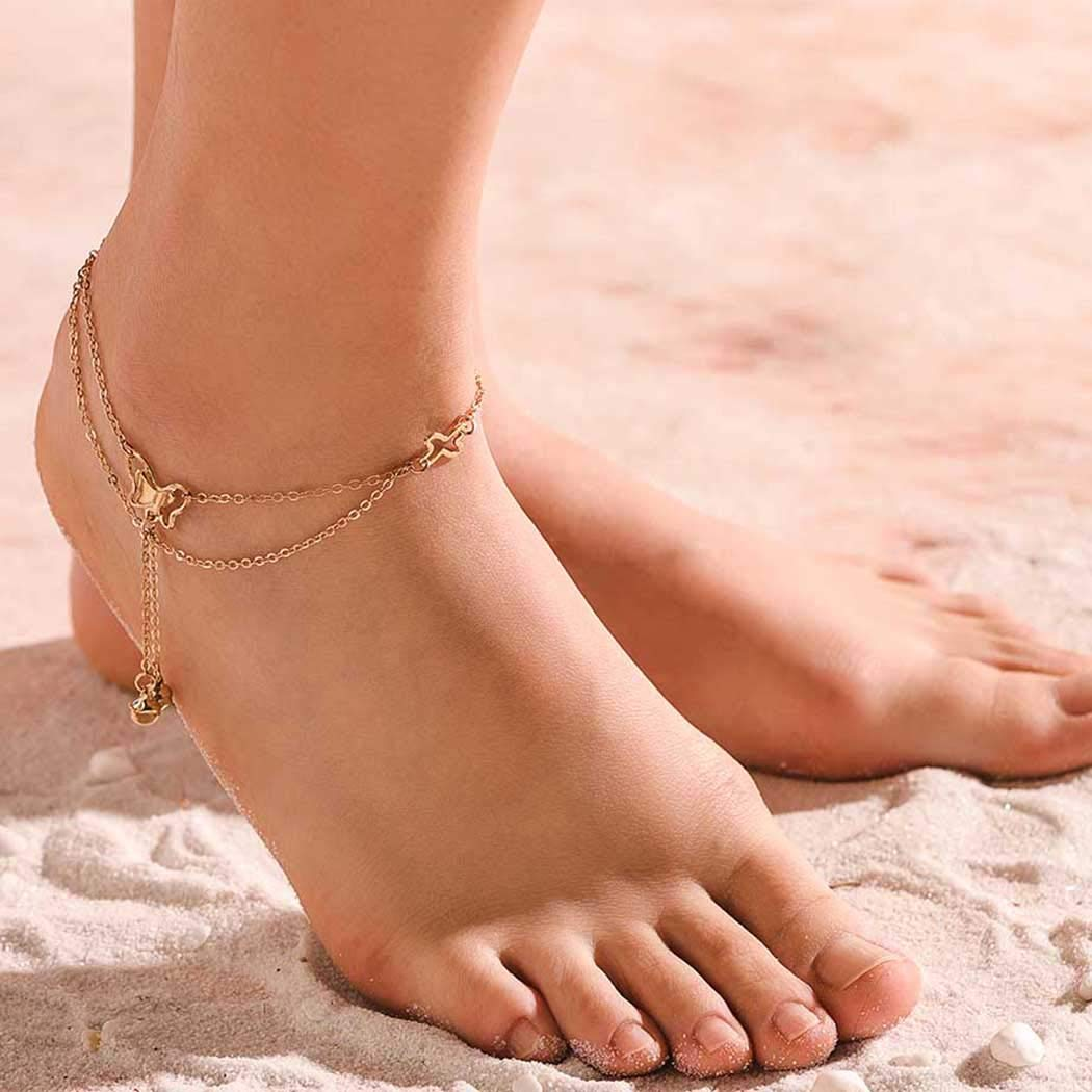 Ursumy Wedding Anklets Butterflies Pendant Ankle Bracelet Bell Foot Chain for Women and Girls (Gold)