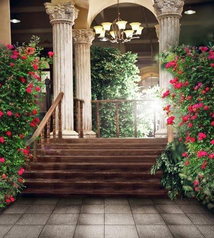 150 x 200 cm romántico boda fotografía fondo Palacio escaleras San Valentín fotos fondos de Studio flores rojas: Amazon.es: Electrónica