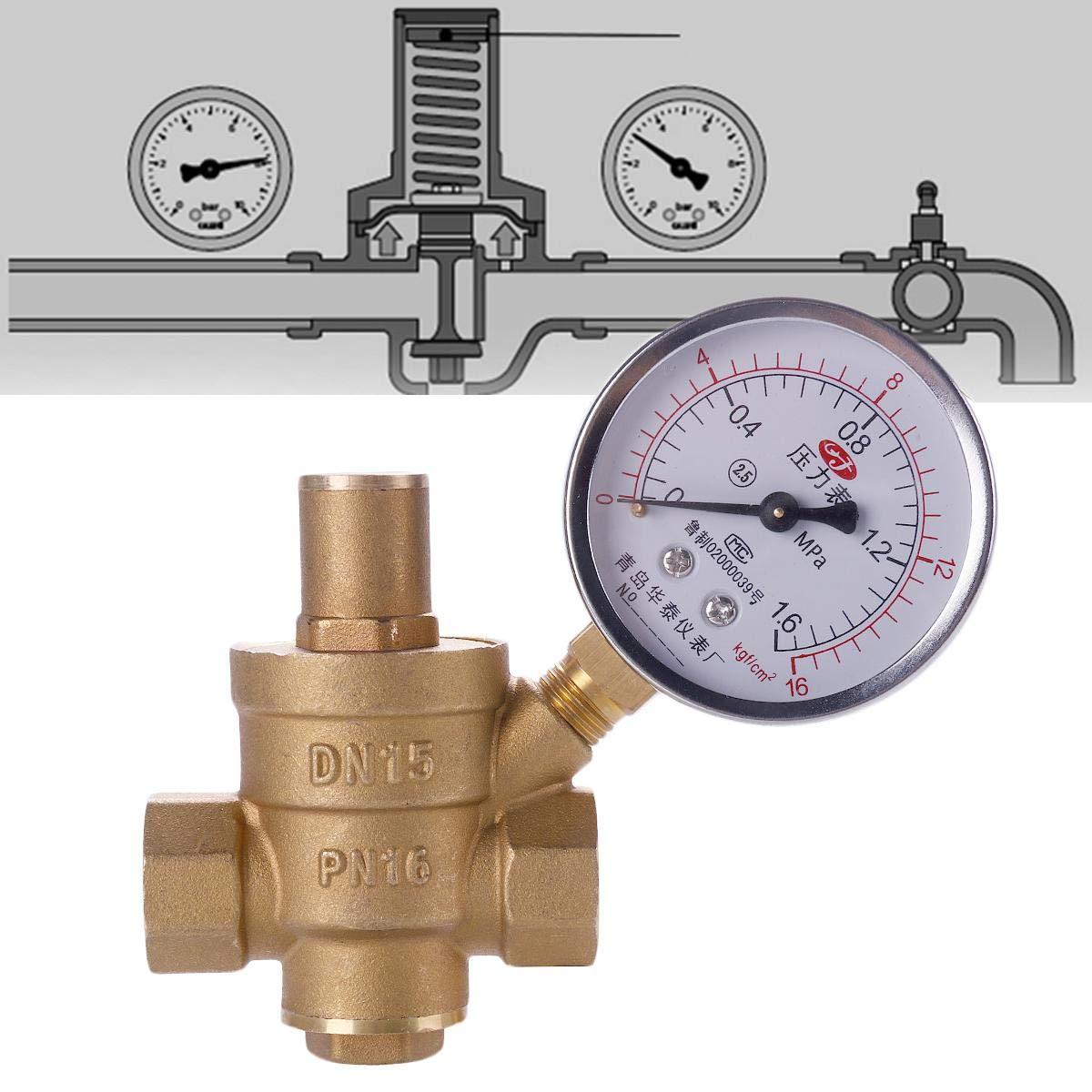 YOUNGFLY DN15 NPT 1//2 regulador de presi/ón de Agua de lat/ón Ajustable Reductor con medidor de Calibre