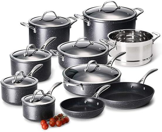 10 Pcs Acier Inoxydable Plaque à Induction à manger Ustensiles de Cuisine Casserole Pot Casserole Set