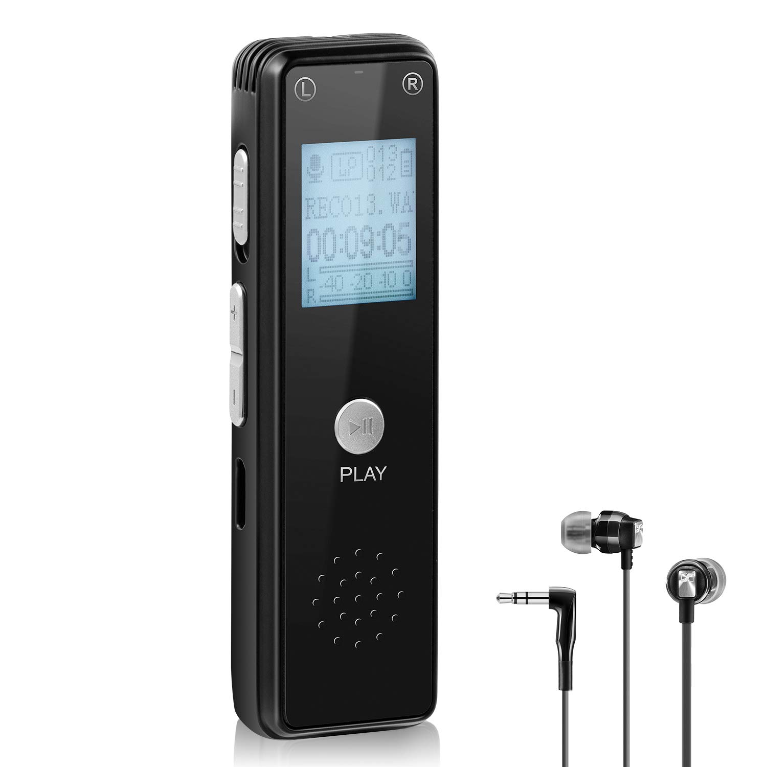 Digital Voice Recorder, Upow 8 GB Slim Audio Sound Dictaphone with Micro SD Card MP3 Player Built-in Mic USB Rechargeable Support OTG