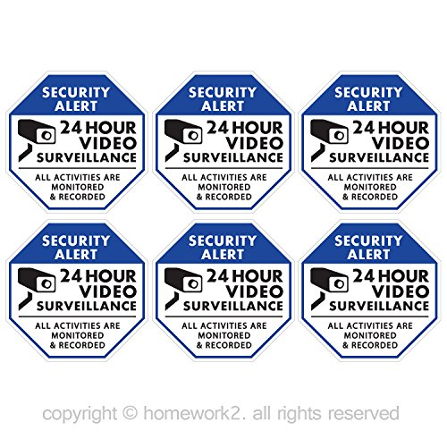 CCTV Video Surveillance Security Stickers, Blue and White Octagon-Shaped, 3.3 X 3.3 Inch, Vinyl Decals - Indoor & Outdoor Use, UV Protected & Waterproof - 6 Labels