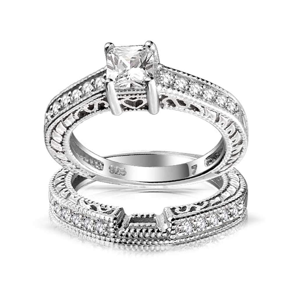 0.75ct Sterling Silver CZ Wedding Engagement Ring Set by Bling Jewelry (Image #3)