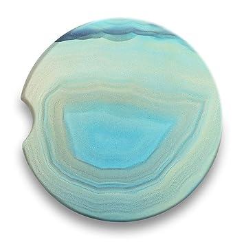 Agate Geode Stone - Posavasos de cerámica absorbente para bebidas de coche (juego de 2) - soporte para taza de coche: Amazon.es: Hogar
