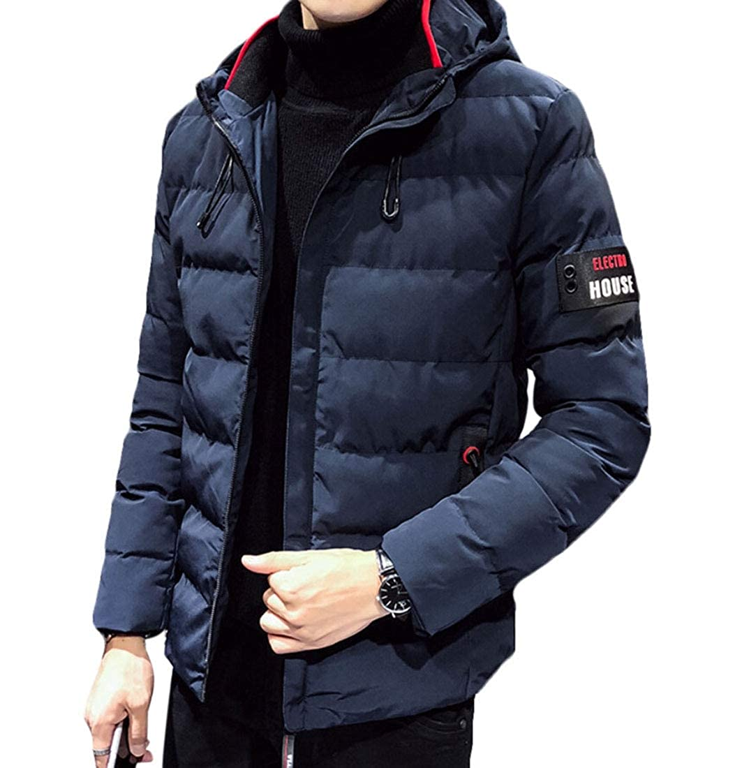 Generic Mens Warm Heavyweight Quilted Hooded Windbreaker Puffer Jacket Outdoor Coat