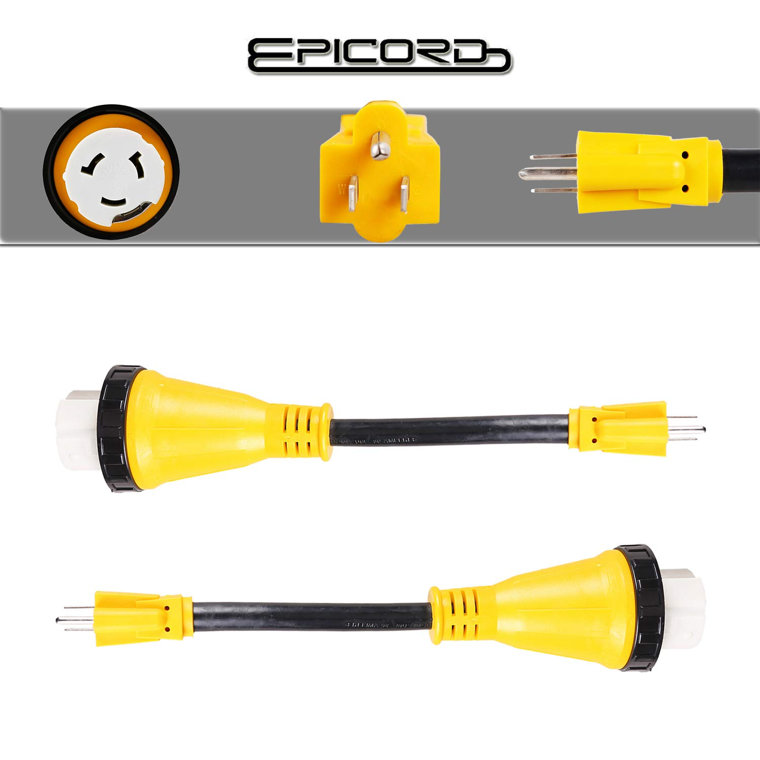 Epicord RV Adapter Power Cord 50AMP Male to 30AMP Female Camper Connector Heavy Duty Electrical Dogbone,12 Inch