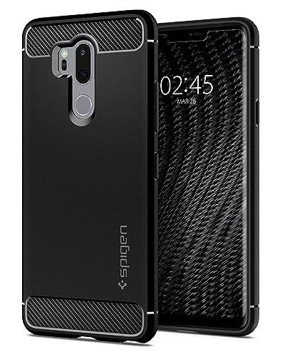 Spigen A27CS23033, LG G7 ThinQ Case, Rugged Armor, Patent Carbon Fiber Design Flexible Slim TPU for LG G7 ThinQ - Black
