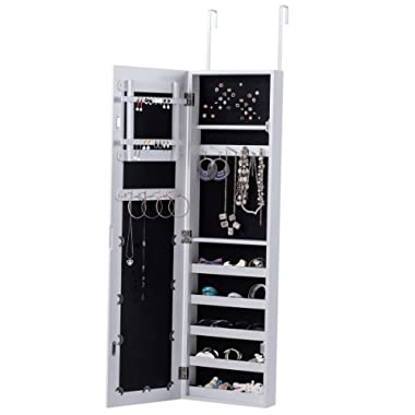 Giantex Mirrored Jewelry Cabinet Lockable Door Mounted Jewelry Organizer 5 Storage Shelves (White Without LED)