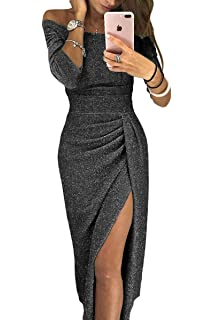 Hotgreenpepper Women s Metallic Glitter Off The Shoulder High Waisted Evening  Party Dress 8bc54eed2a77