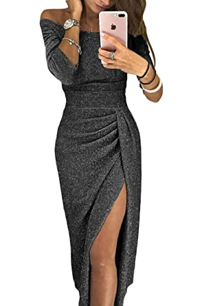 a1e91e6ee5b EZON-CH Women s Silver Sequin Embellishment Elegant Mermaid Evening Gown ...