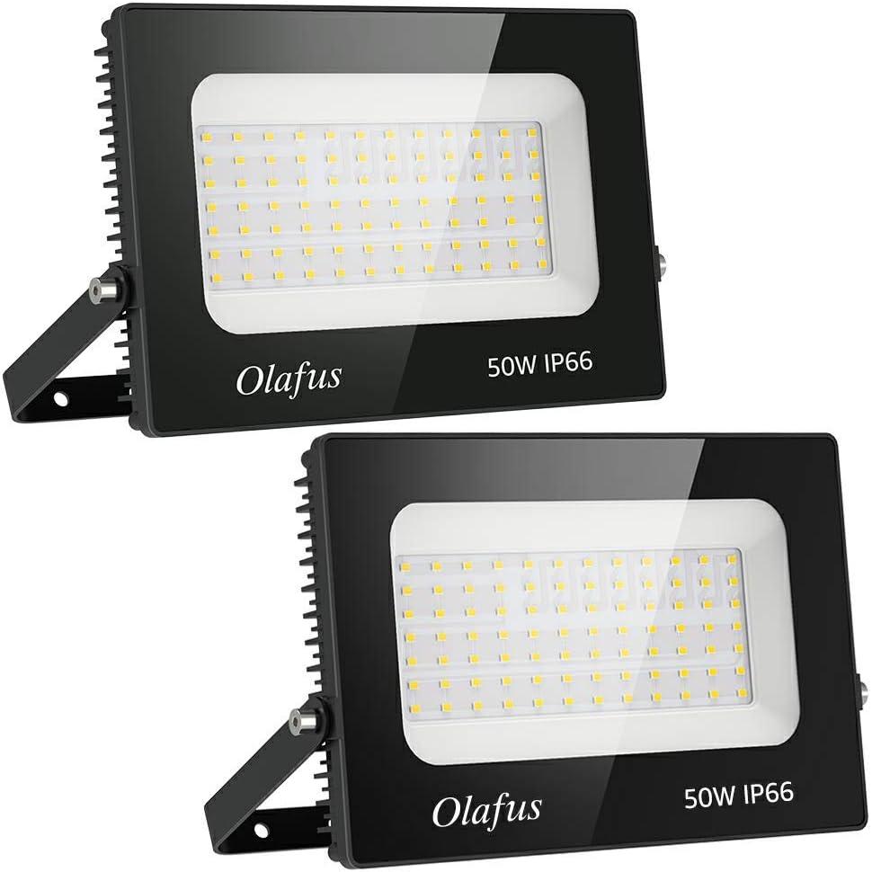 Olafus 2 Pack 50W Focos LED Exterior, IP66 Impermeable 5500LM 5000K Blanco Frío Floodlight LED, Equivalente a 330W Halógeno, Proyector Iluminación de Seguridad, Jardín, Garaje, Fábrica, Terraza: Amazon.es: Iluminación