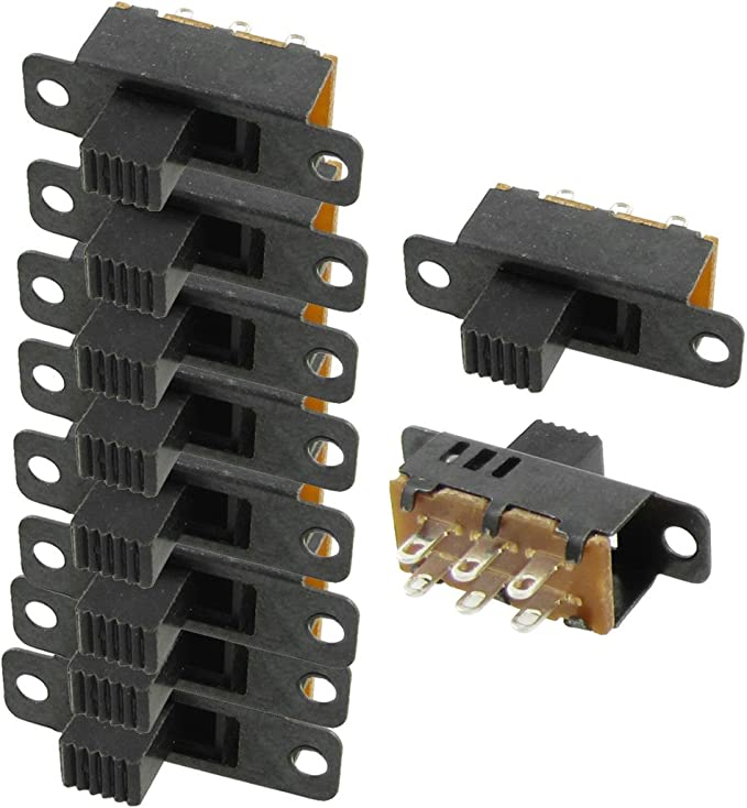 uxcell 25Pcs 6mm Vertical Slide Switch SPDT 3 Terminals PCB Panel Latching