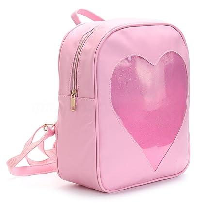 Amazon.com: Ita bolsa rosa transparente corazón de purpurina ...