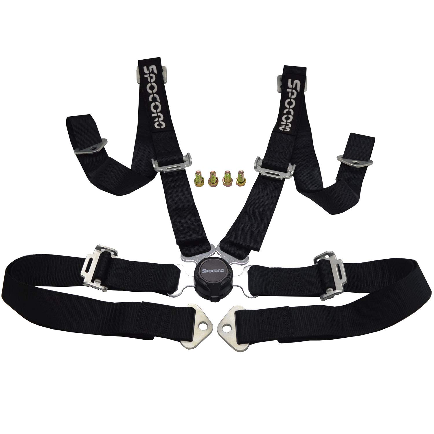 Spocoro SB-0204RD-QR-1 4 Point Racing Safety Harness Cam Lock with 2 Straps Pack of 1 Red