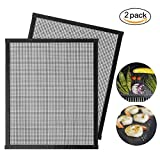 Stephenie BBQ Mesh Grill Mats Teflon Grilling Mats Nonstick Meat Fish Vegetable Smoker Mats for Grill Works on Gas Charcoal Electric Barbecue