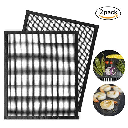 Stephenie BBQ Mesh Grill Mats Teflon Grilling Mats Nonstick Meat Fish Vegetable Smoker Mats for Grill Works on Gas Charcoal Electric Barbecue by Stephenie