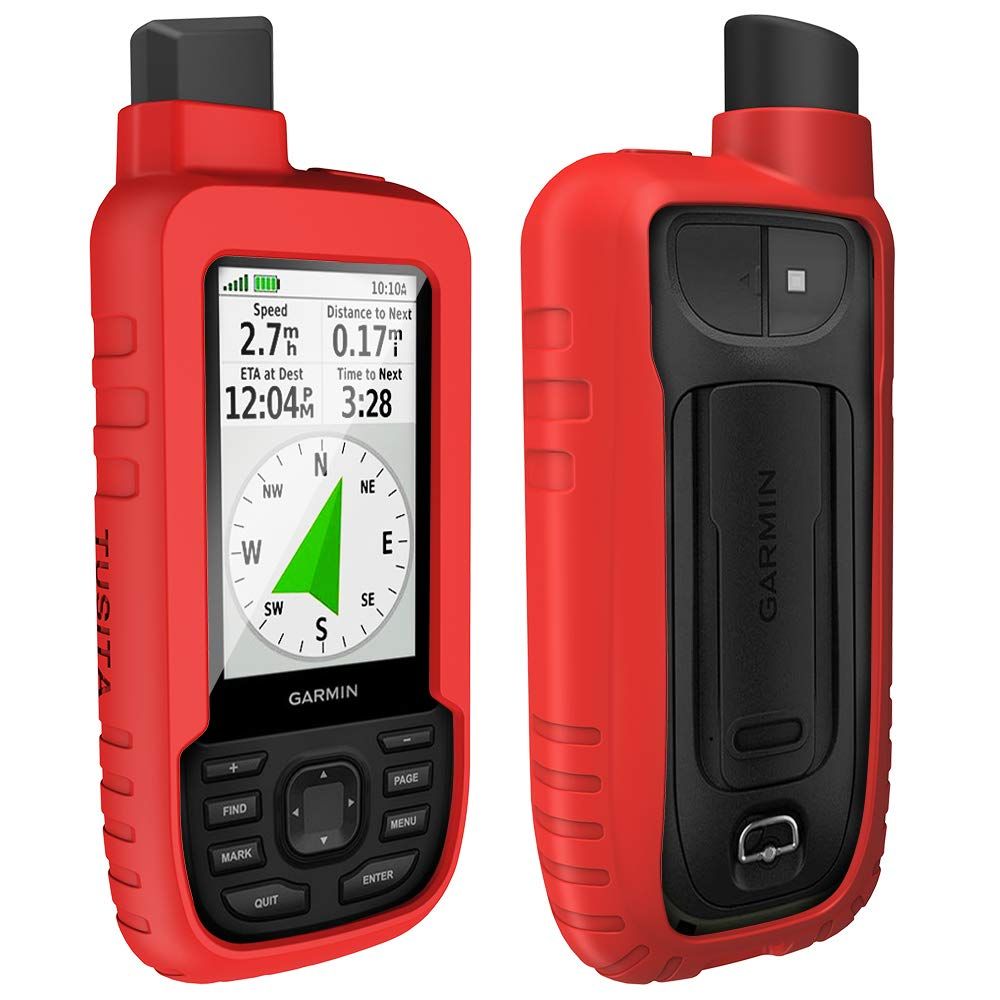 TUSITA Case for Garmin GPSMAP 66s 66st - Silicone Protective Cover - Handheld GPS Accessories (Red) by TUSITA