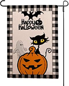 UTSANG Happy Halloween Burlap Pumpkin Ghost Cat Garden Flag- Yard Burlap Flags Double Sided Black Buffalo Plaid Check 12.5 x 18 Inch