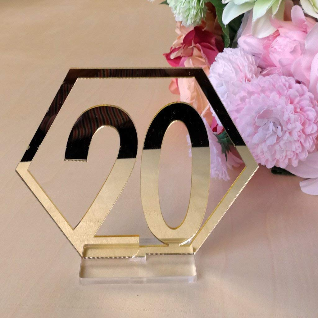 Velidy Table Numbers,1-20Wedding Acrylic Standing Table Numbers with Holder Base for Wedding, Party, Events or Catering Decoration (Gold)