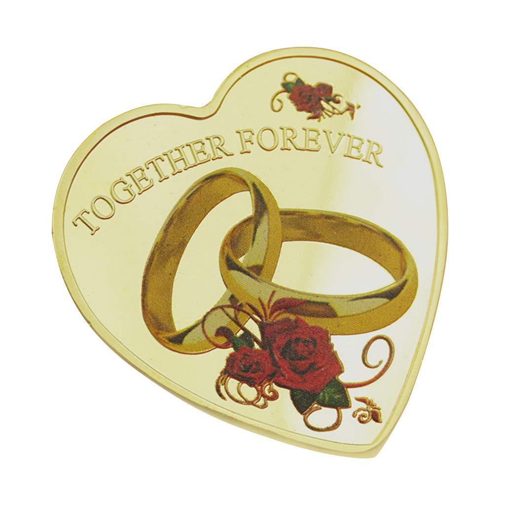 Regalo de San Valent/ín Recuerdo de Monedas conmemorativas para Bodas Burane Jin Love Anillo de Boda con dise/ño de coraz/ón y Rosas