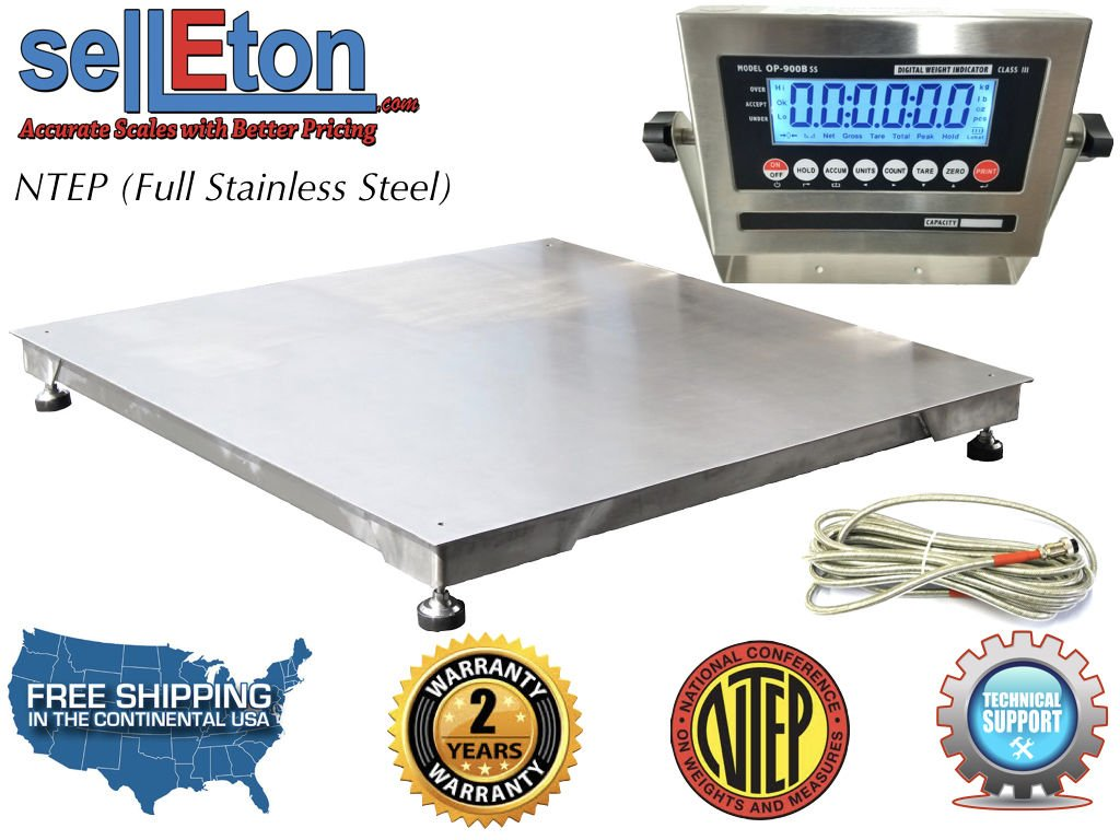 Selleton Ntep 48'' X 48'' 4' X 4' Floor Scale Fixed Top Stainless Steel Washdown 5000 Lbs by Selleton