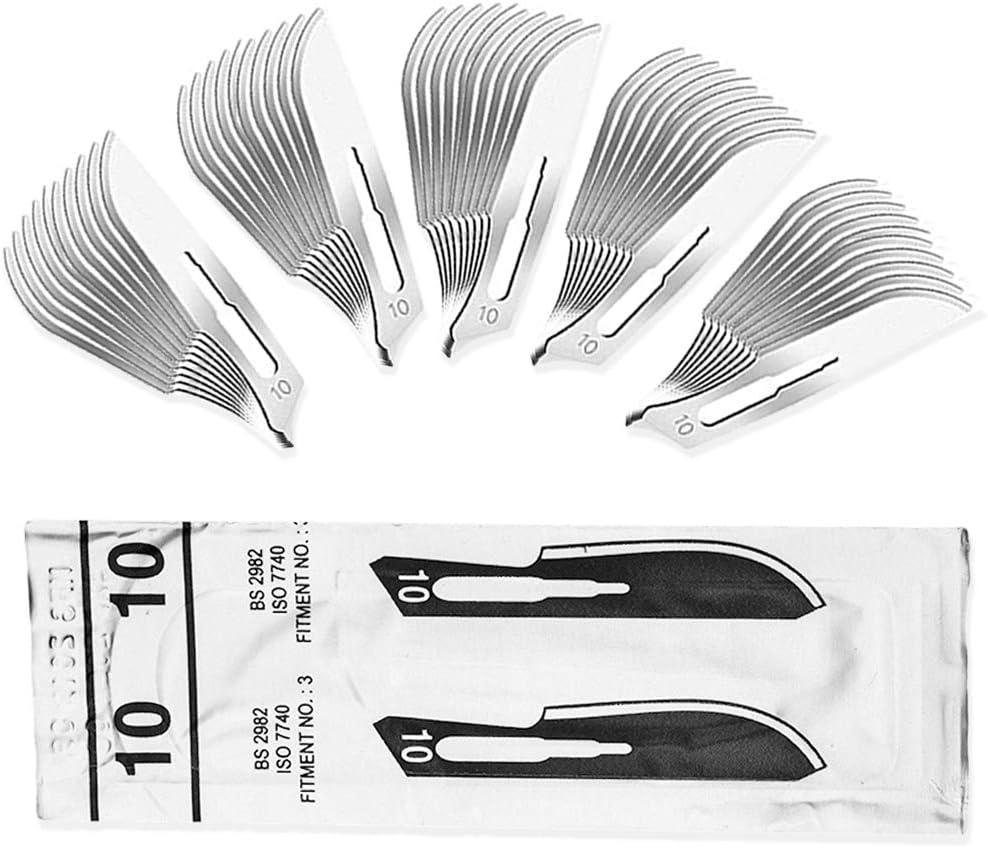 50 piezas Hojas de bisturi 10 - recambio cuchillas - cuchillas escalpelo para mango de bisturí número 3 - acero carbón, estériles