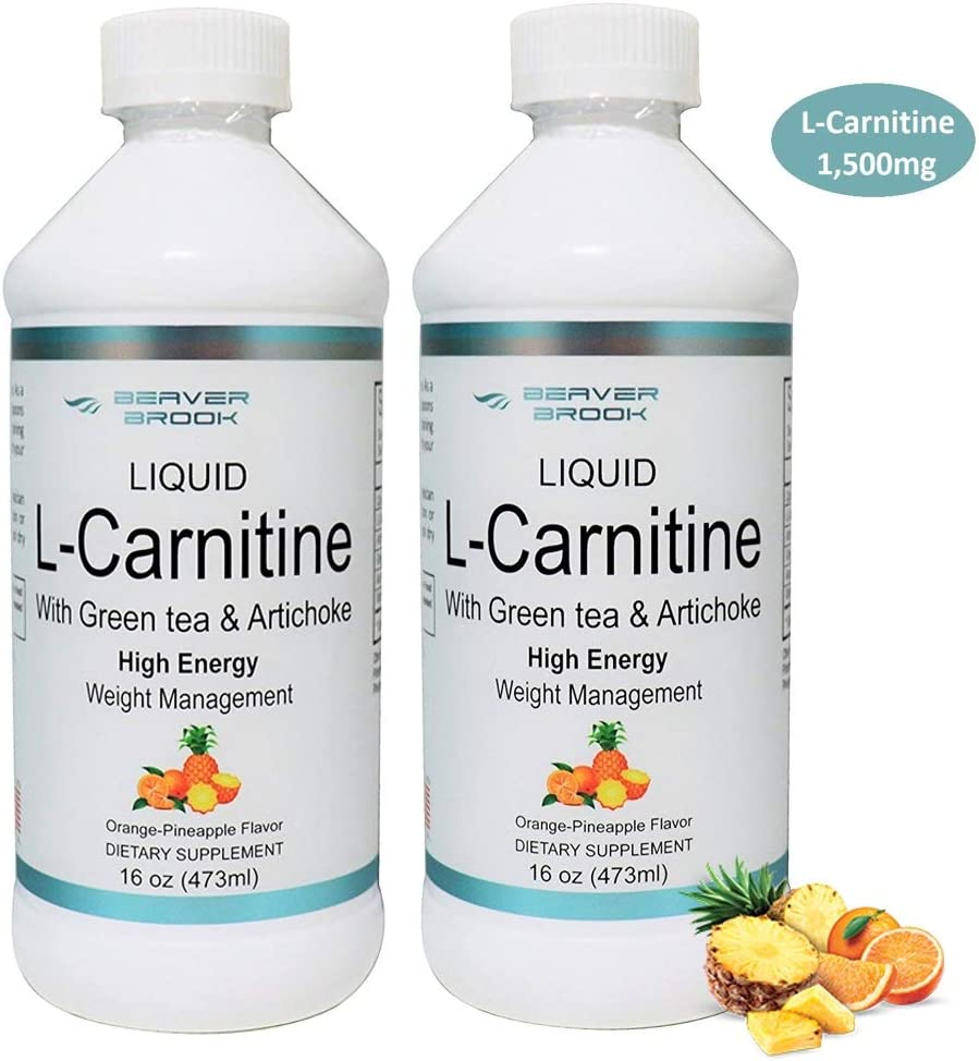 Beaver Brook Liquid L-Carnitine 1,500mg with Green Tea Artichoke Supplement for Strength and Fat Burning – Orange Pineapple – 2 Pack