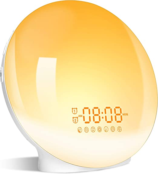 Amazon.com: Wake- Up Light, LBell 7 Colored Night Light/Sunrise Simulation & Sleep Aid, Dual Alarm Clock with FM Radio, 7 Natural Sounds and Snooze for Kids Adults Bedrooms/Night Light Ambiance: Electronics