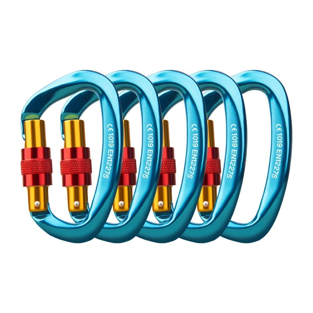 Locking Carabiner - 25kN 5600lb Climbing Carabiner Screw Gate D Shape Carabiner Blue (Pack of 3) by Paliston