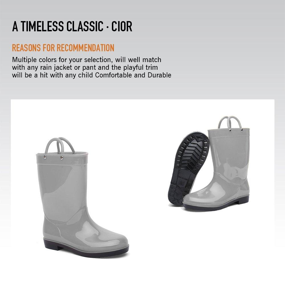 CIOR Toddler Rain Boots Girls Boys Durable PVC Rubber Kids Waterproof Shoes