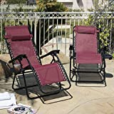 2 Folding Zero Gravity Reclining Lounge Chairs Utility Tray Outdoor Beach Patio, Burgundy