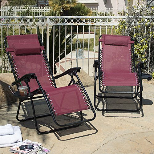 2 Folding Zero Gravity Reclining Lounge Chairs Utility Tray Outdoor Beach Patio  Burgundy