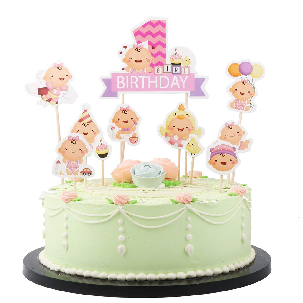 LVEUD 10pc Baby Cake Topper Set and 1 Birthday Girl Cake Topper for First Birthday Party Supplies Pink