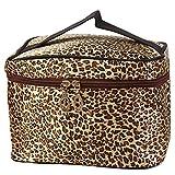 DATEWORK Women Leopard Print Cosmetic Bags (Brown)