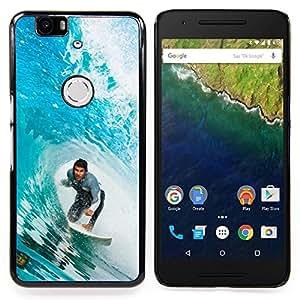 "Qstar Arte & diseño plástico duro Fundas Cover Cubre Hard Case Cover para Huawei Google Nexus 6P (Big Blue Wave Surfer"")"