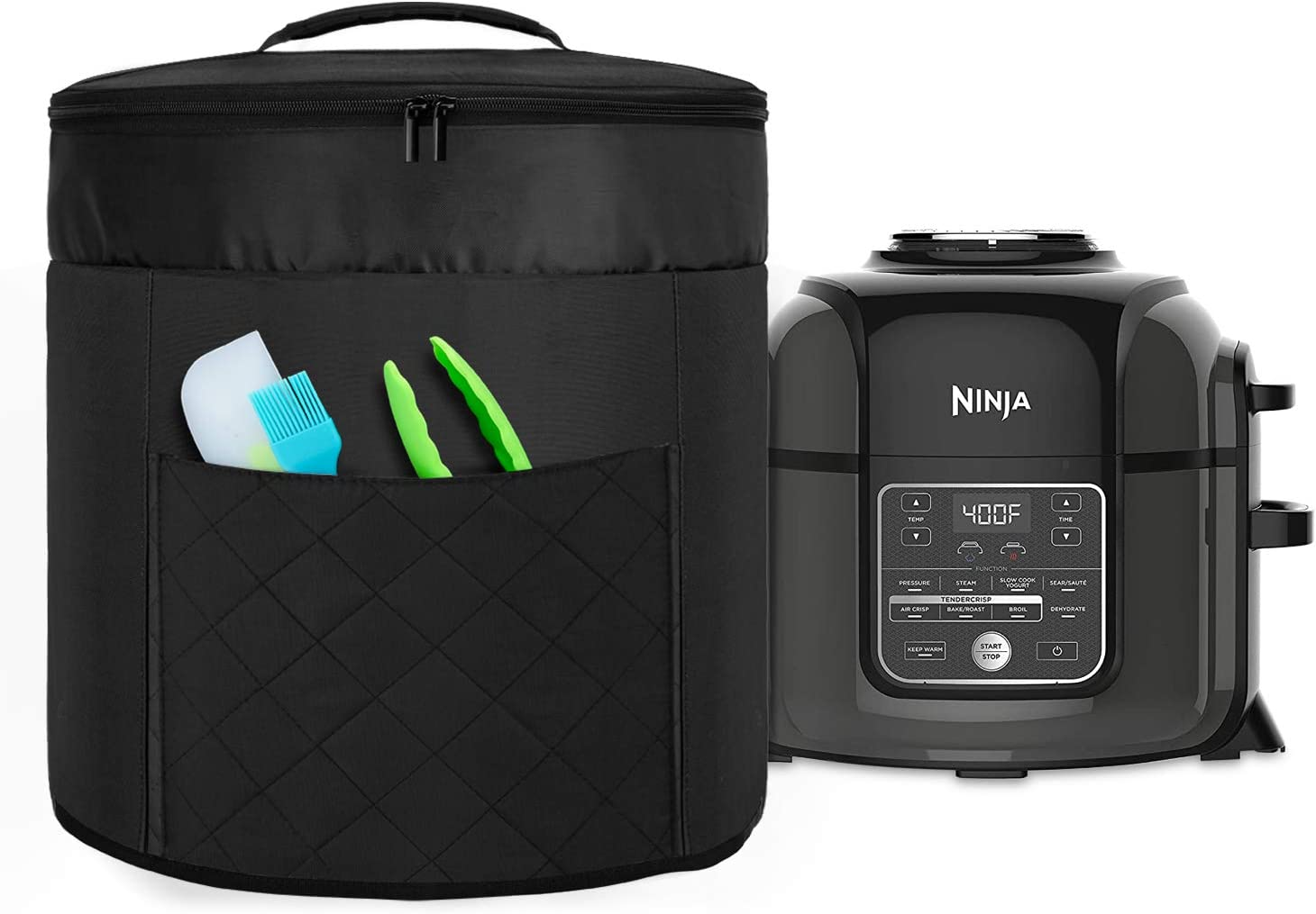 Luxja Pressure Cooker Cover Compatible with 8 Quart Ninja Foodi (with zippered section for lid), Dust Cover for Ninja Pressure Cooker (Wipeable Foil Lining), Black (Quilted Front pocket)