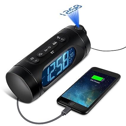 Despertador Proyector, Kozy Life Relojes de proyección con Alarma de Proyección de FM Con Radio FM,USB, Carga Doble Alarma, Batería De Backup, Sleep ...