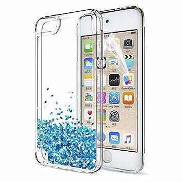 LeYi Funda iPod Touch 7 / 5 / 6 Silicona Purpurina Carcasa con HD Protectores de Pantalla,Transparente Cristal Bumper Telefono Gel TPU Fundas Case ...